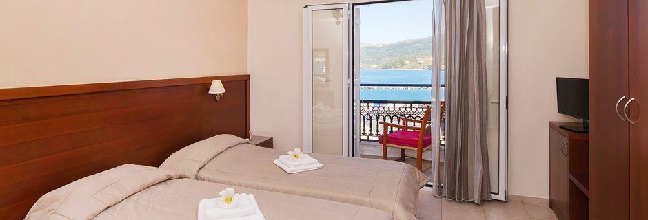 Dubbelrum på hotell El Greco i Sitia på Kreta, Grekland.