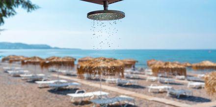 Stranden vid hotell Elvita på Rhodos.