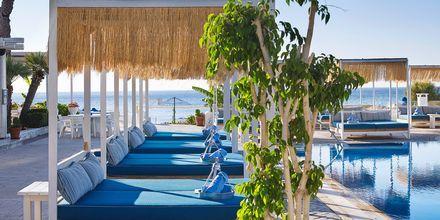 Poolområde på hotell Epsilon på Rhodos, Grekland.