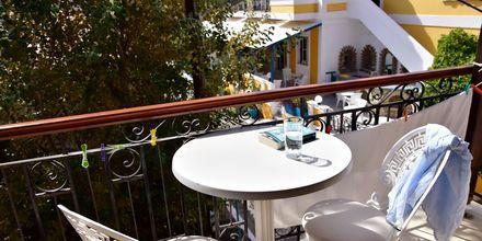 Dubbelrum på hotell Evripili på Samos i Grekland.