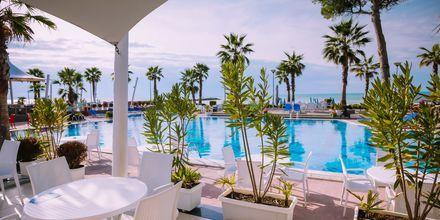 Poolbar på hotell Fafa Premium vid Durres riviera i Albanien.