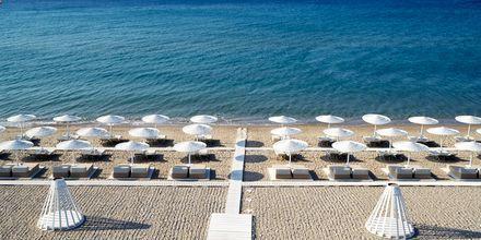Stranden vid Fito Aqua Bleu Resort i Pythagorion på Samos, Grekland.