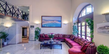 Reception på hotell Fortezza i Rethymnon på Kreta, Grekland.