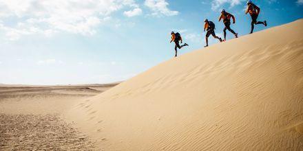 Löpning i sanddynerna på Fuerteventura.