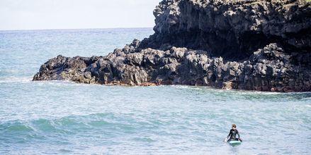 Surfing i Porto da Cruz på Madeira i Portugal.