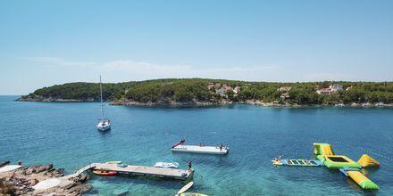 Klippbad och havet vid Gava Waterman Resort Milna på Brac, Kroatien.
