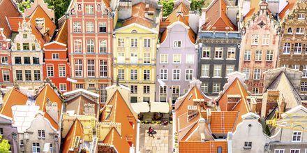 Färgglada hus i Gdansk, Polen.
