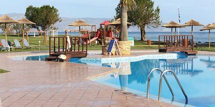 Pool och lekplats på hotell Geraniotis Beach i Platanias på  Kreta.