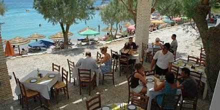 Restaurang på hotell Glicorisa Beach i Pythagorion, Samos.
