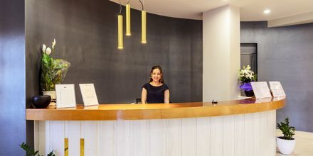 Lobby på hotell Gouves Bay i Gouves, Kreta.