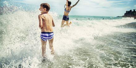 Bada i härliga vågor.