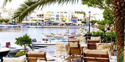 Småstadstempo i Agios Nikolaos på Kreta.