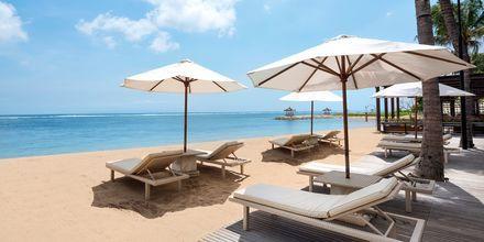 Stranden vid hotell Griya Santrian i Sanur, Bali.