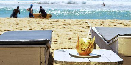 Skönt liv på stranden i Hikkaduwa på södra Sri Lanka.