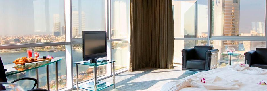 Deluxerum på hotell Hilton Dubai Creek i Dubai, Förenade Arabemiraten.