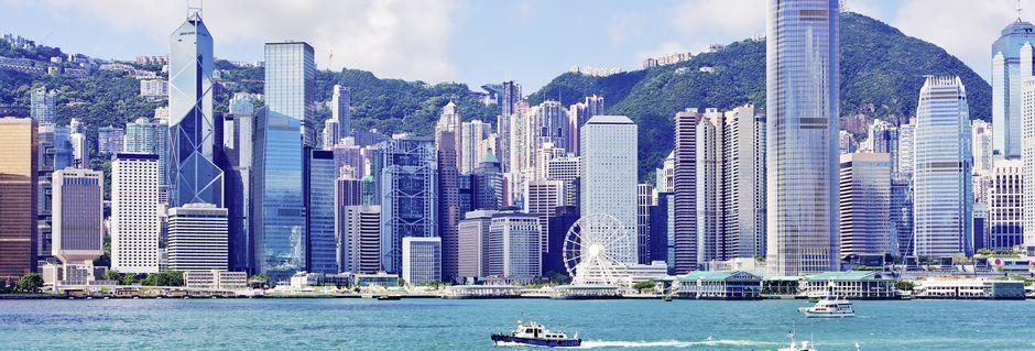 Hong Kong, Kina, sett från vattnet.