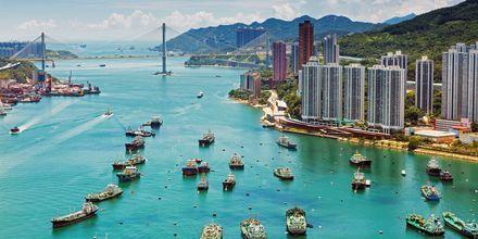 Hamnen i Hong Kong är ett viktigt affärscentrum.