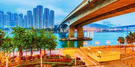 Området Riverside i Hong Kong, Kina.