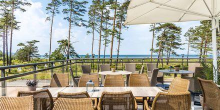 Härlig terrass på hotell Riviera Strand i Båstad.