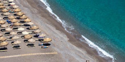 Kristallklart vatten vid stranden i Koutsounari på Kreta i Grekland.