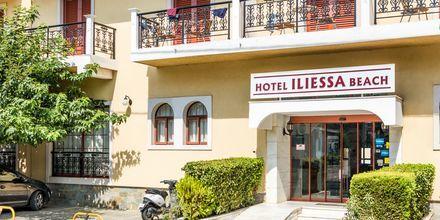Entre på hotell Iliessa Beach i Argassi på Zakynthos, Grekland.