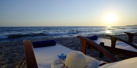 Stranden vid hotell Ionioan Theoxenia i Kanali, Grekland.