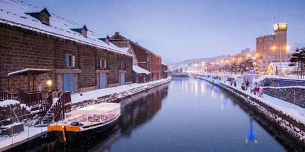 Kanalen Otaru i Hokkaido, norra Japan. Här är vintrarna långa och kalla.