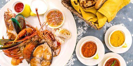 Lankesisk mat på hotell Jetwing Sea i Negombo på Sri Lanka.