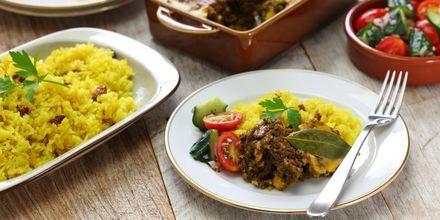 Sydafrikas nationalrätt heter Bobotie och är en slags köttfärsgryta.