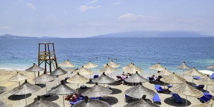 Strand på hotell Joni i Saranda, Albanien.