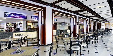 Restaurangtorg på hotell Jungle Aqua Park i Hurghada, Egypten.
