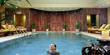 Inomhuspool i spaavdelningen på hotell Jungle Aqua Park i Hurghada, Egypten.