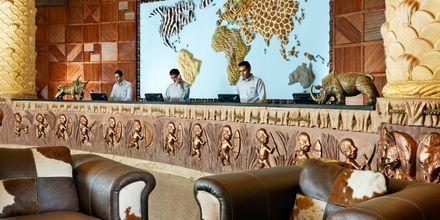 Receptionen på hotell Jungle Aqua Park i Hurghada, Egypten.