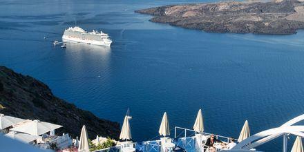 Utsikt från Hotell Kafieris Blue på Santorini, Grekland.