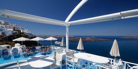 Restaurangen på hotell Kafieris Blue på Santorini, Grekland.