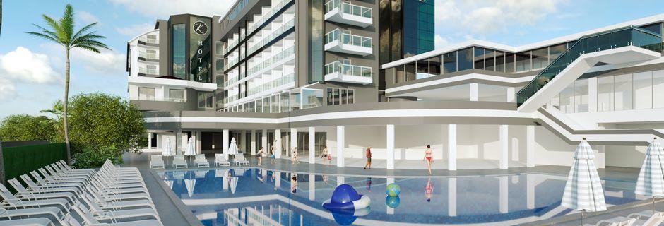 Skissbild på renoveringen av fasaden på hotell Kaila Beach i Alanya, Turkiet.