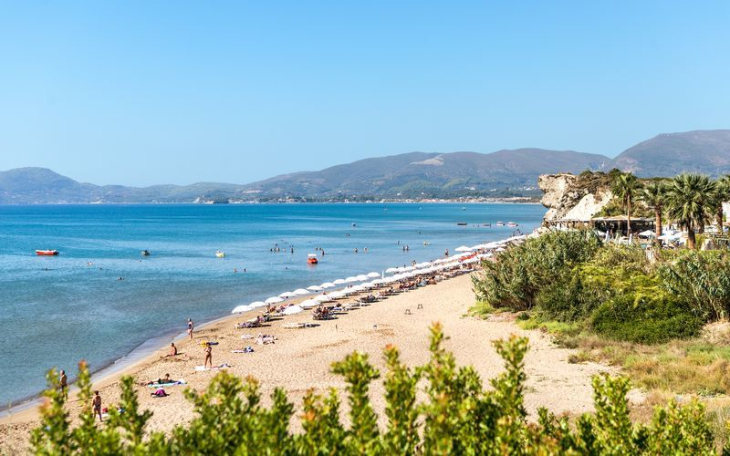 Stranden i Kalamaki på Zakynthos, Grekland.