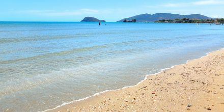 Stranden mellan Kalamaki och Laganas på Zakynthos, Grekland.