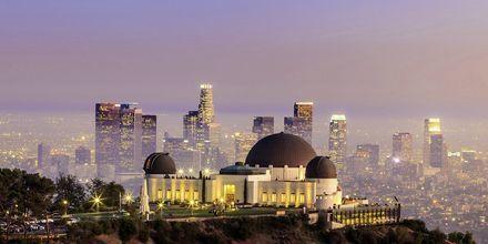 Griffithis observatory med Los Angeles skyskrapor i bakgrunden.