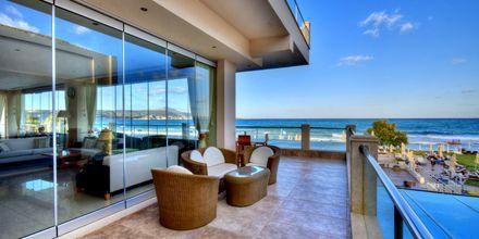 Utsikt från hotell Kiani Beach Resort i Kalives på Kreta, Grekland.