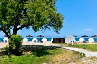 Stranden vid hotell Kipriotis Maris Suites i Psalidi på Kos, Grekland.