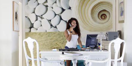 Reception på hotell Kivo Art & Gourmet i Vasilias på Skiathos, Grekland.