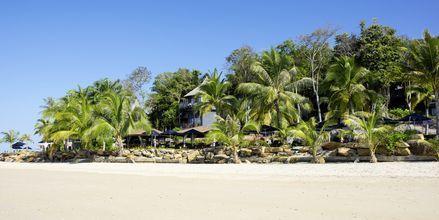 Kritvit sand vid Klong Muang på Krabi.
