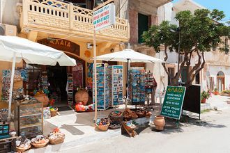 Shopping i Kolymbari på Kreta, Grekland.