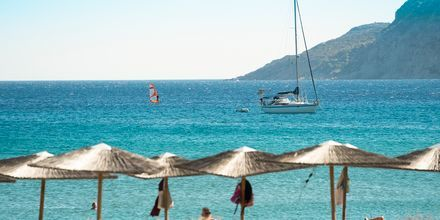 Stranden i byn Kefalos på Kos, Grekland.