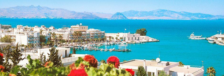 Vy över Kos stad, Grekland.