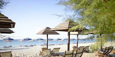 Stranden vid hotell Kouros Seasight i Pythagorion på Samos, Grekland.