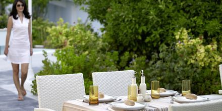 Restaurangen på hotell Kouros Seasight i Pythagorion på Samos, Grekland.