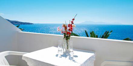 Balkongutsikt från Hotell Krinos på Karpathos, Grekland.