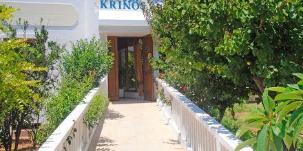 Entrén till Hotell Krinos på Karpathos, Grekland.